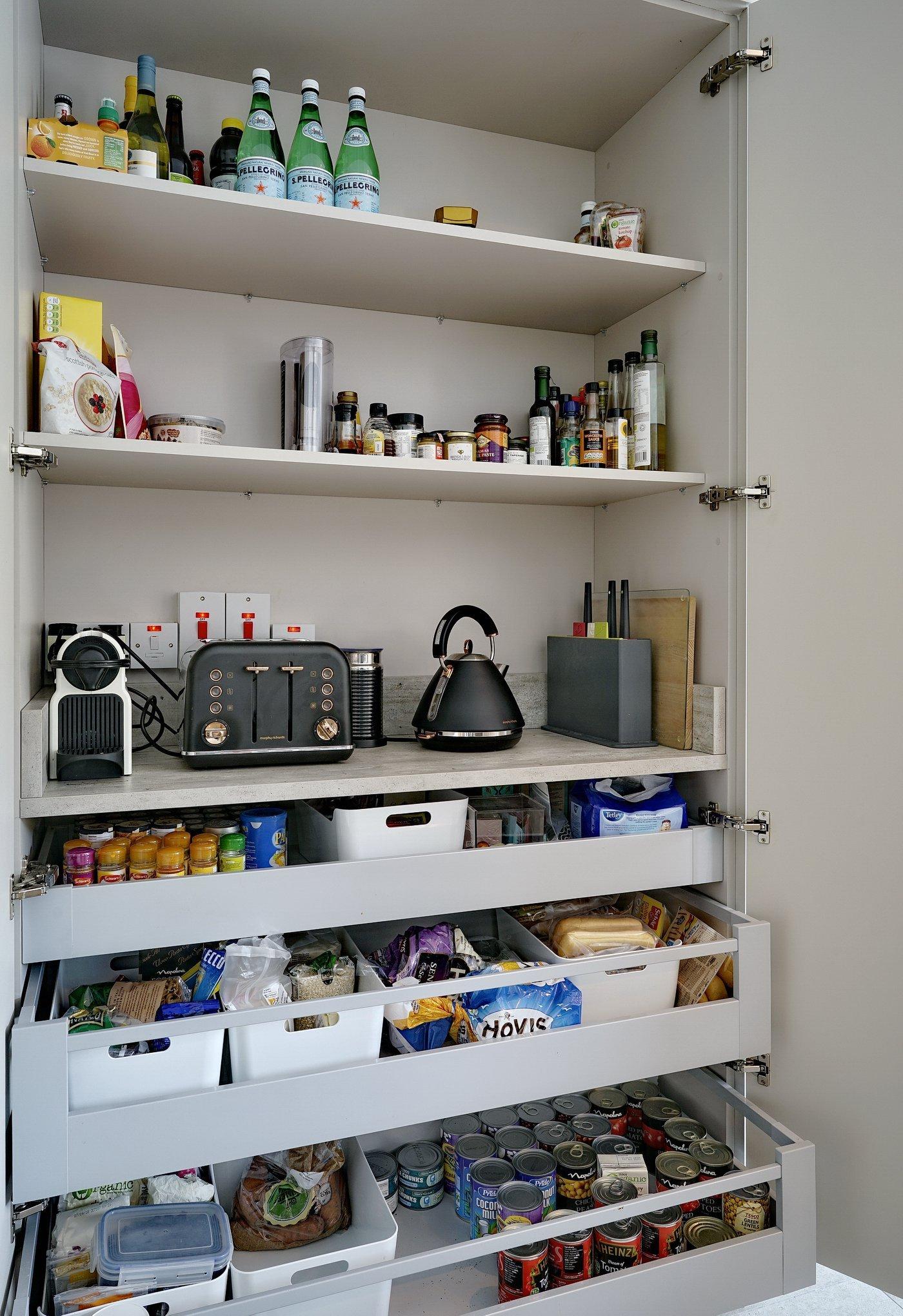 Modern larder in family kitchen