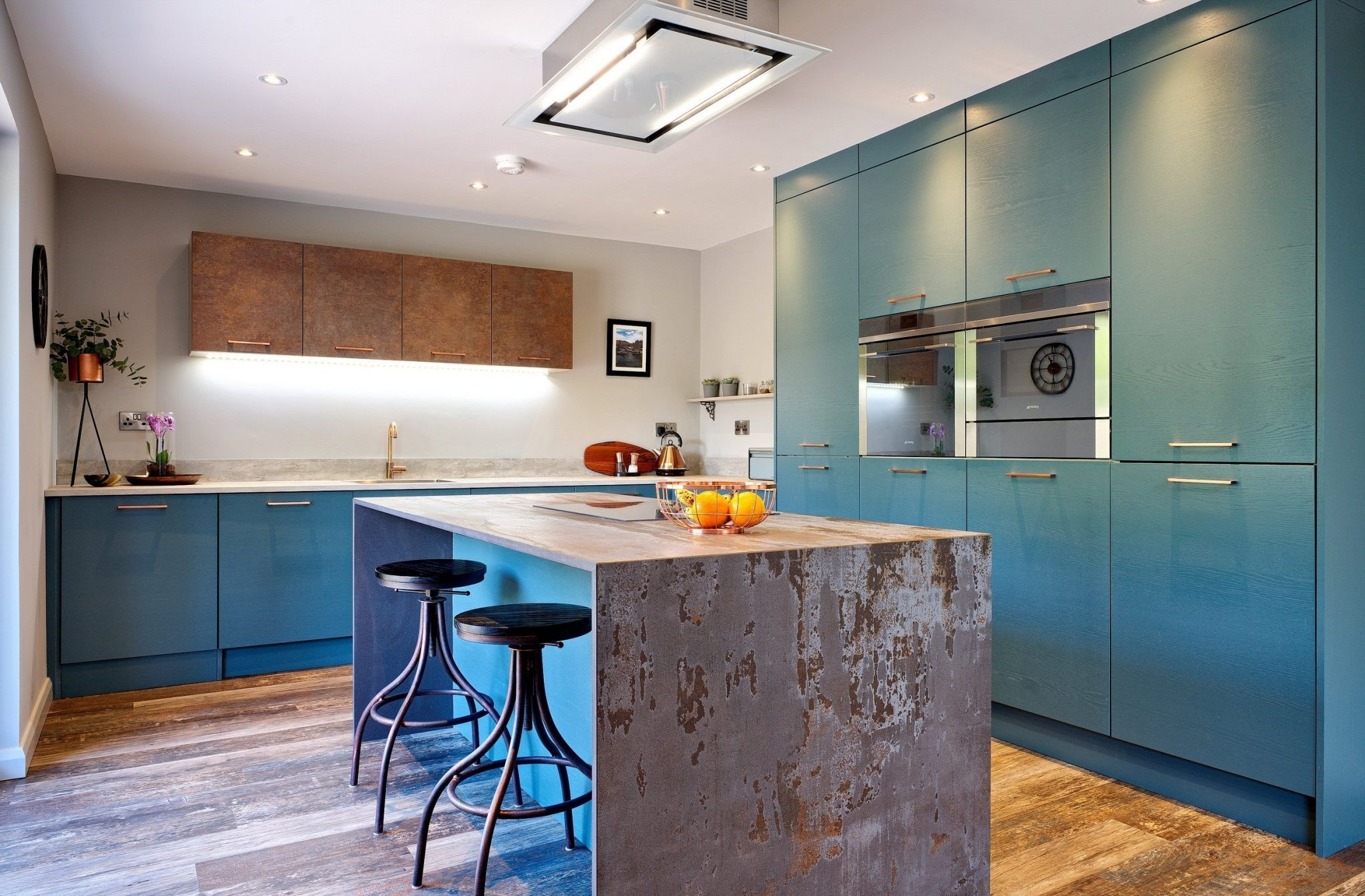 Teal Blue Kitchen with Dekton work surfaces