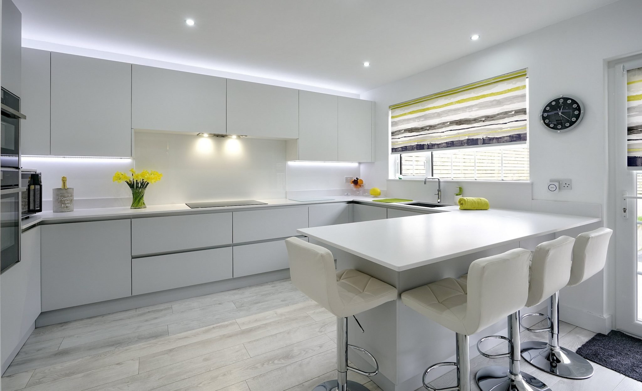 Modern White Kitchen with no handles