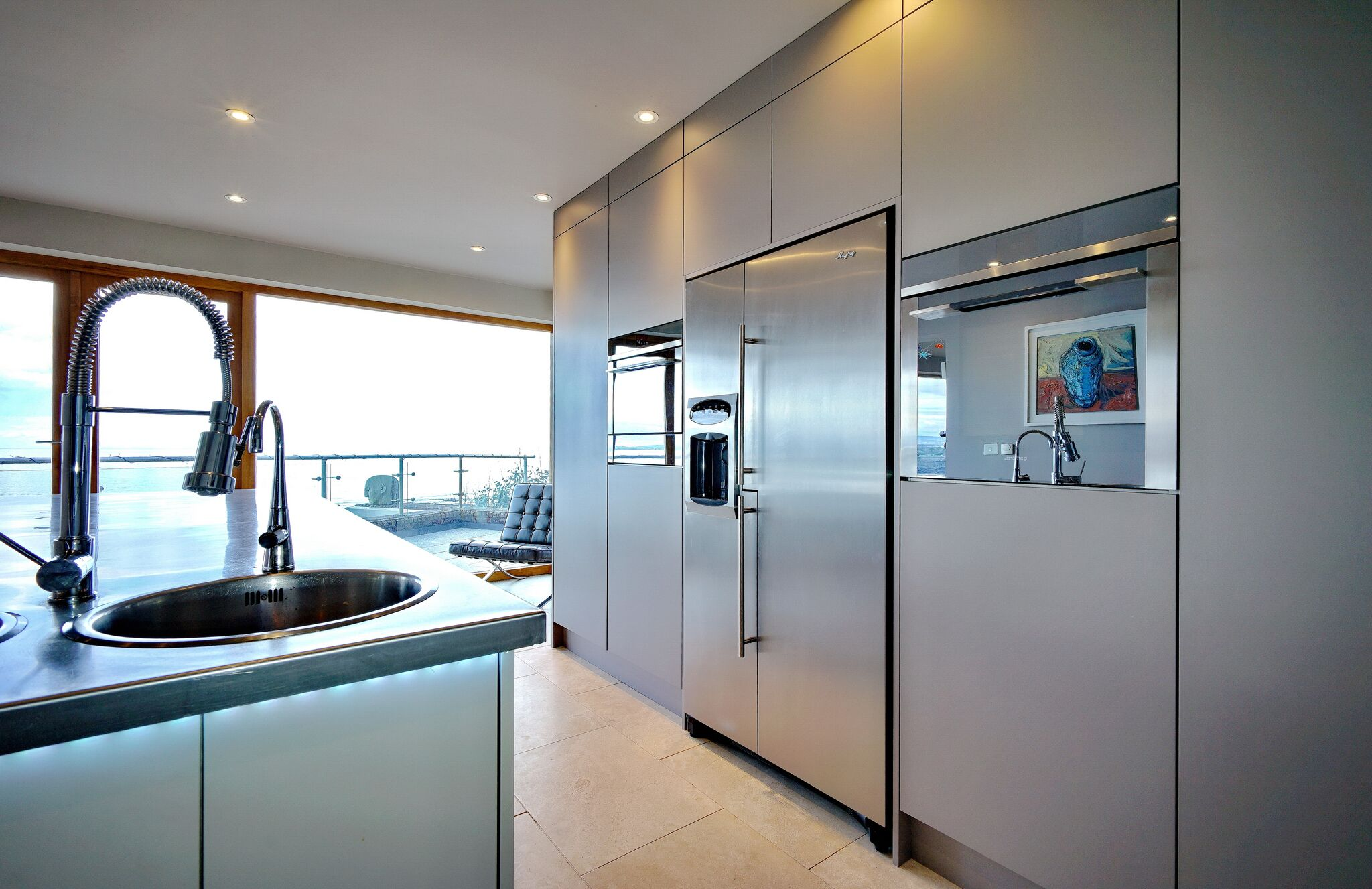 Adornas Kitchens Bangor-Modern Kitchen-Appliance Wall-German Kitchen-Smeg-Basalt-SeaView