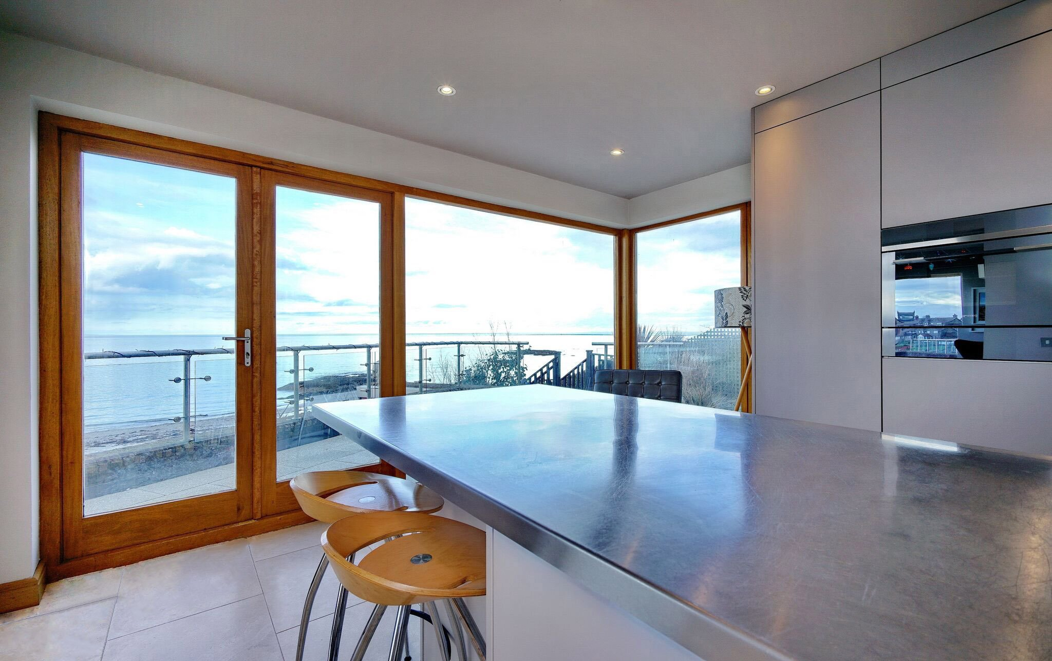 View-Adornas Kitchens Bangor-Modern Kitchen-Appliance Wall-German Kitchen-Smeg-Basalt-SeaView-Groomsport