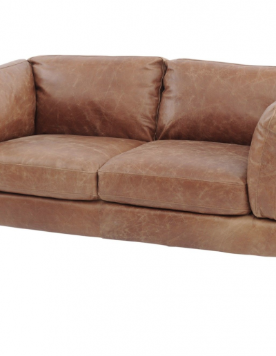 Botanical Tan Leather Two Seater Sofa £1150